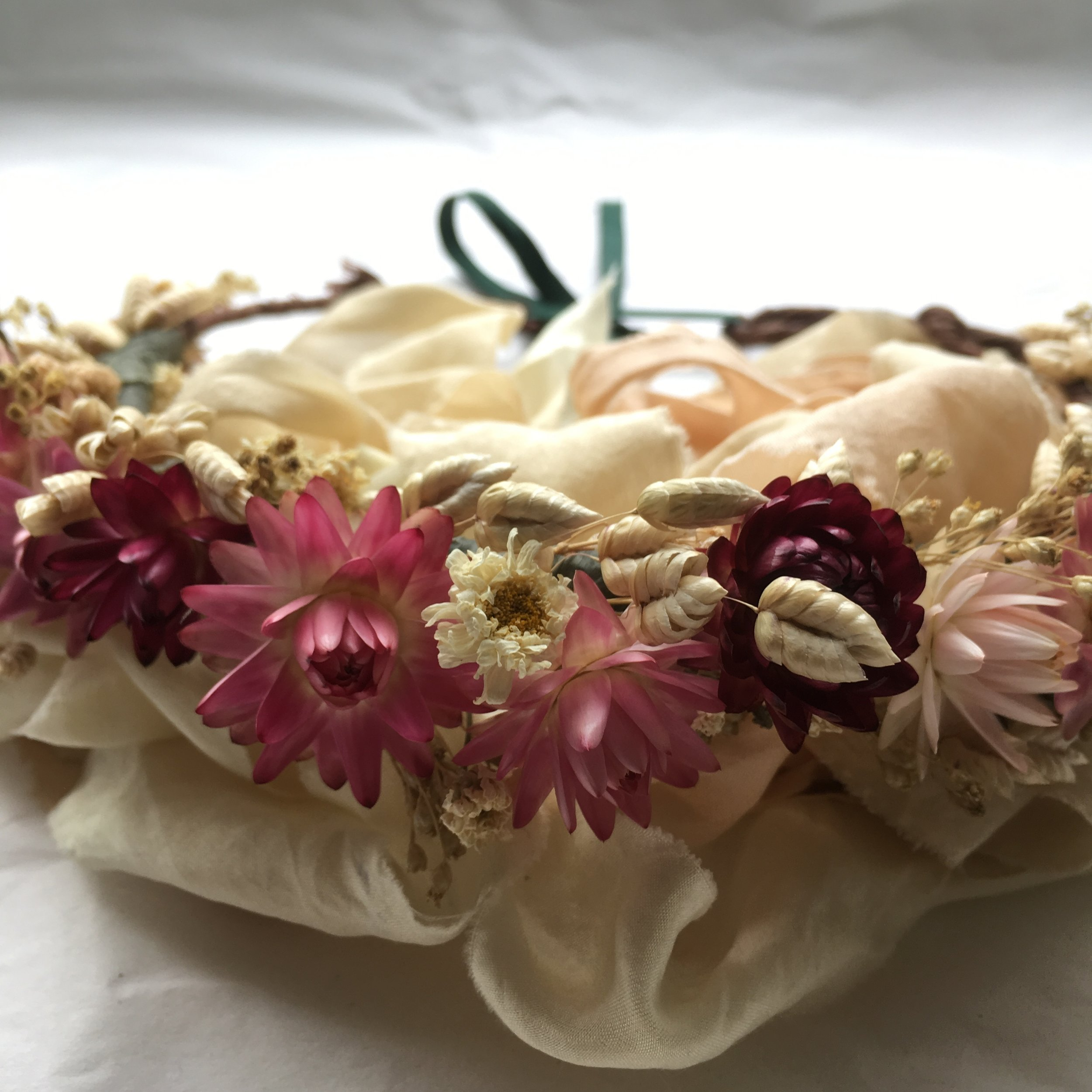 - Bespoke flower crown crafted using dried flowers, available upon request