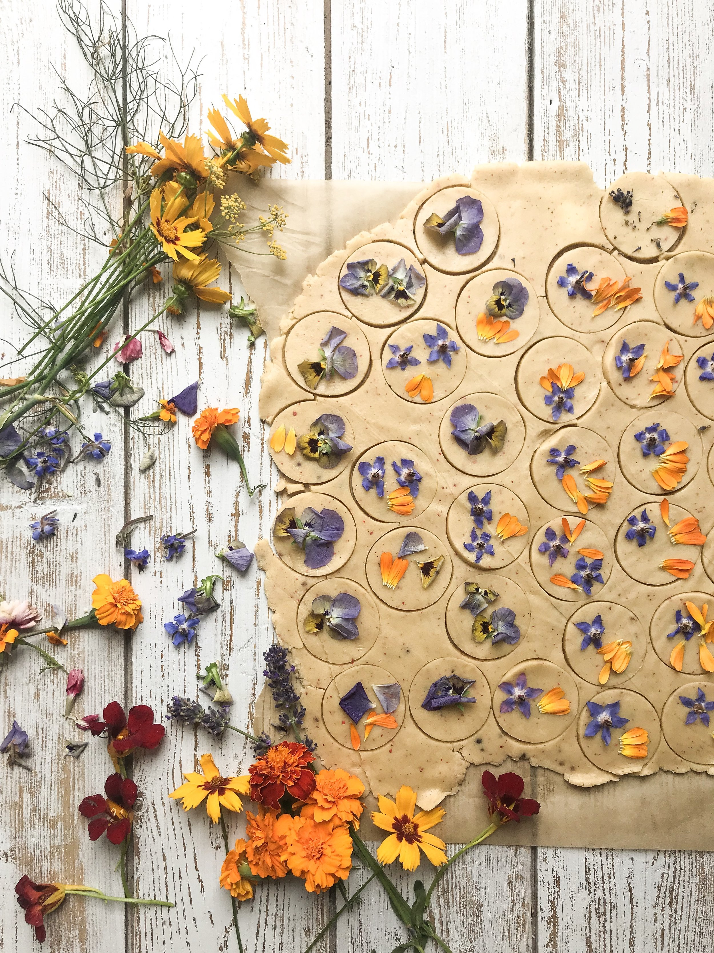 Botanical biscuits made using edible flowers
