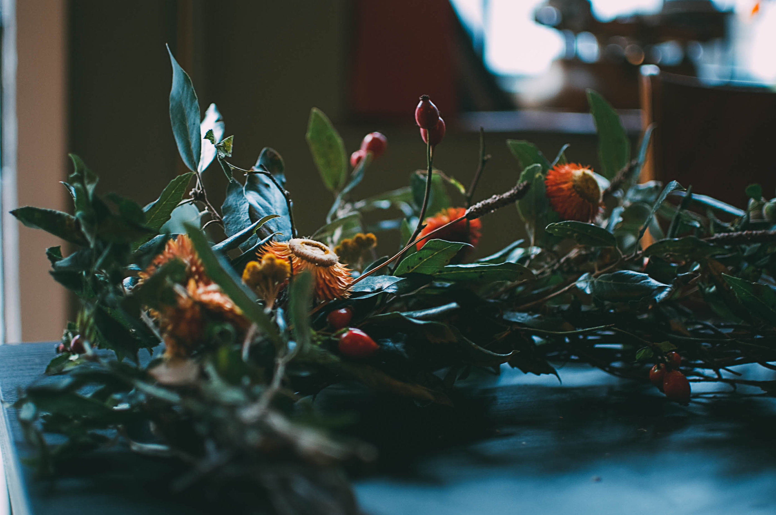 flowers and foliage at festive wreath workshop near me