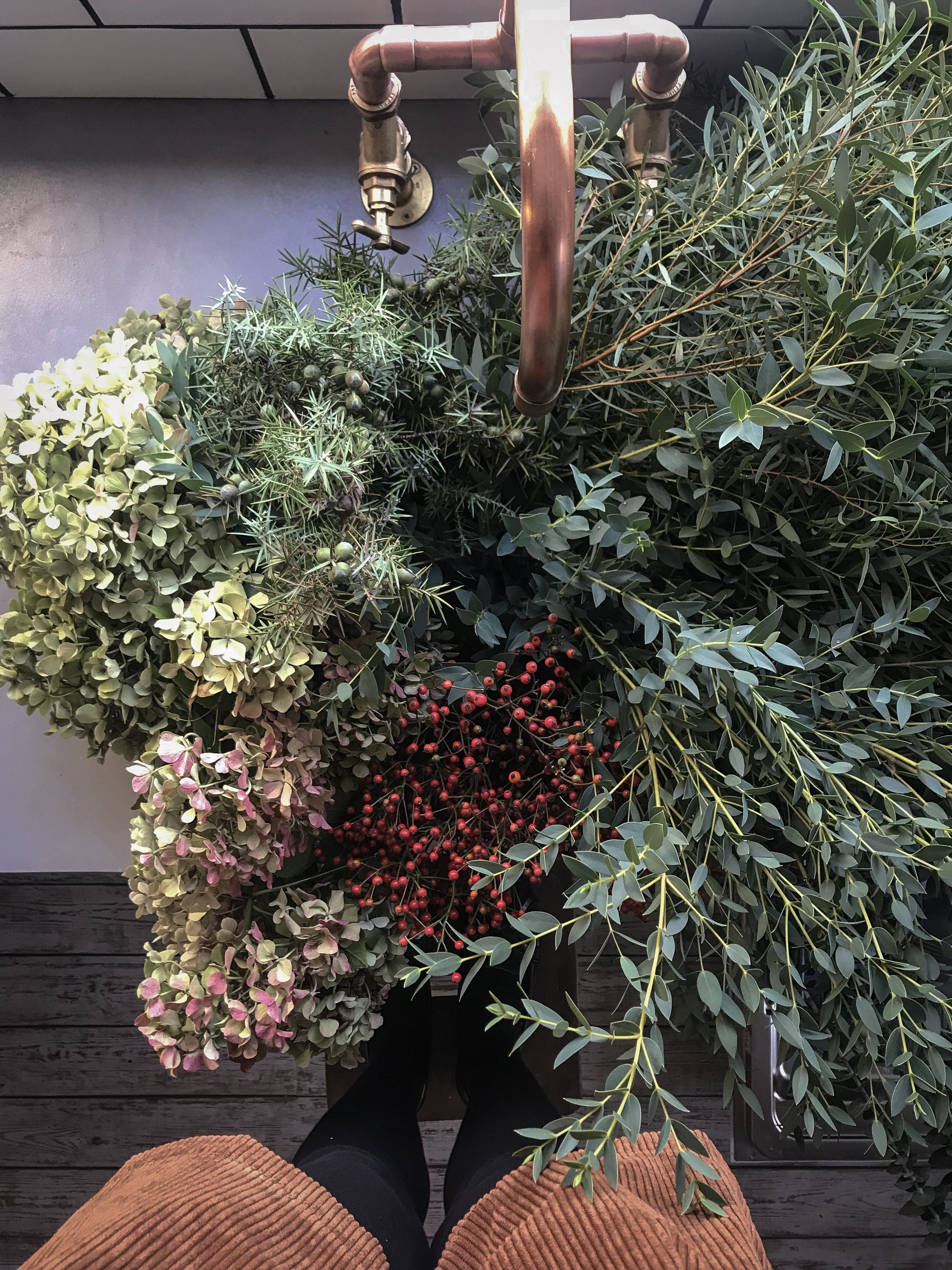 foraged materials for wreath making