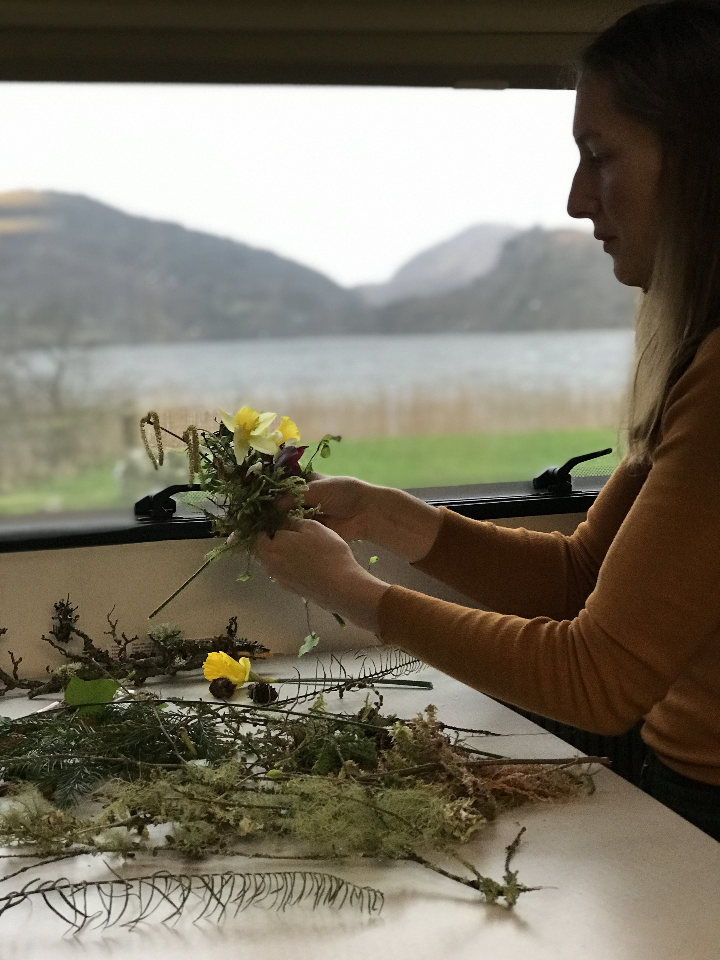 wreath making in a campervan
