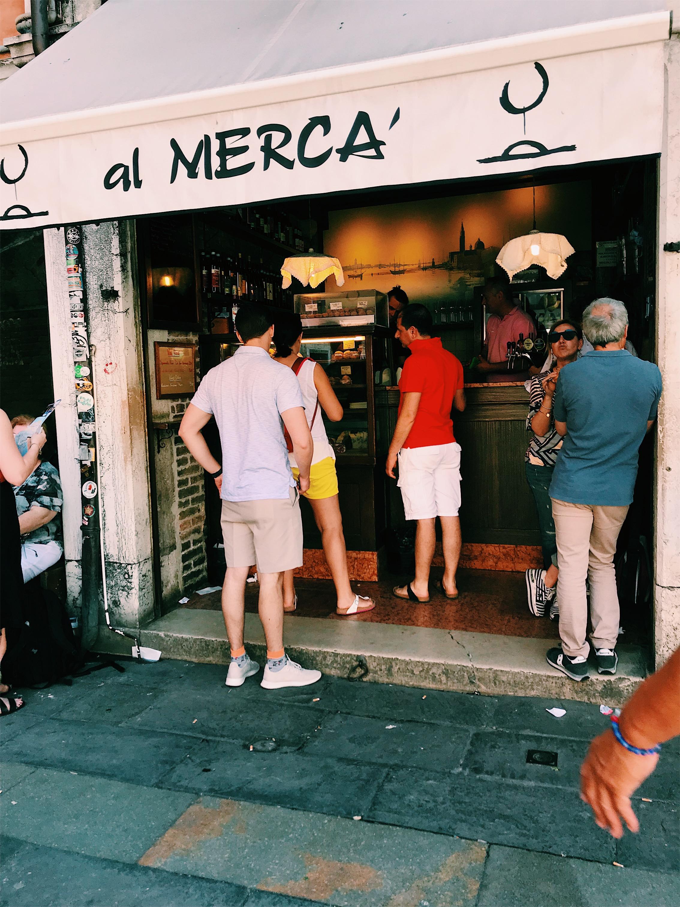 Our favorite bar in the market square past Rialto bridge