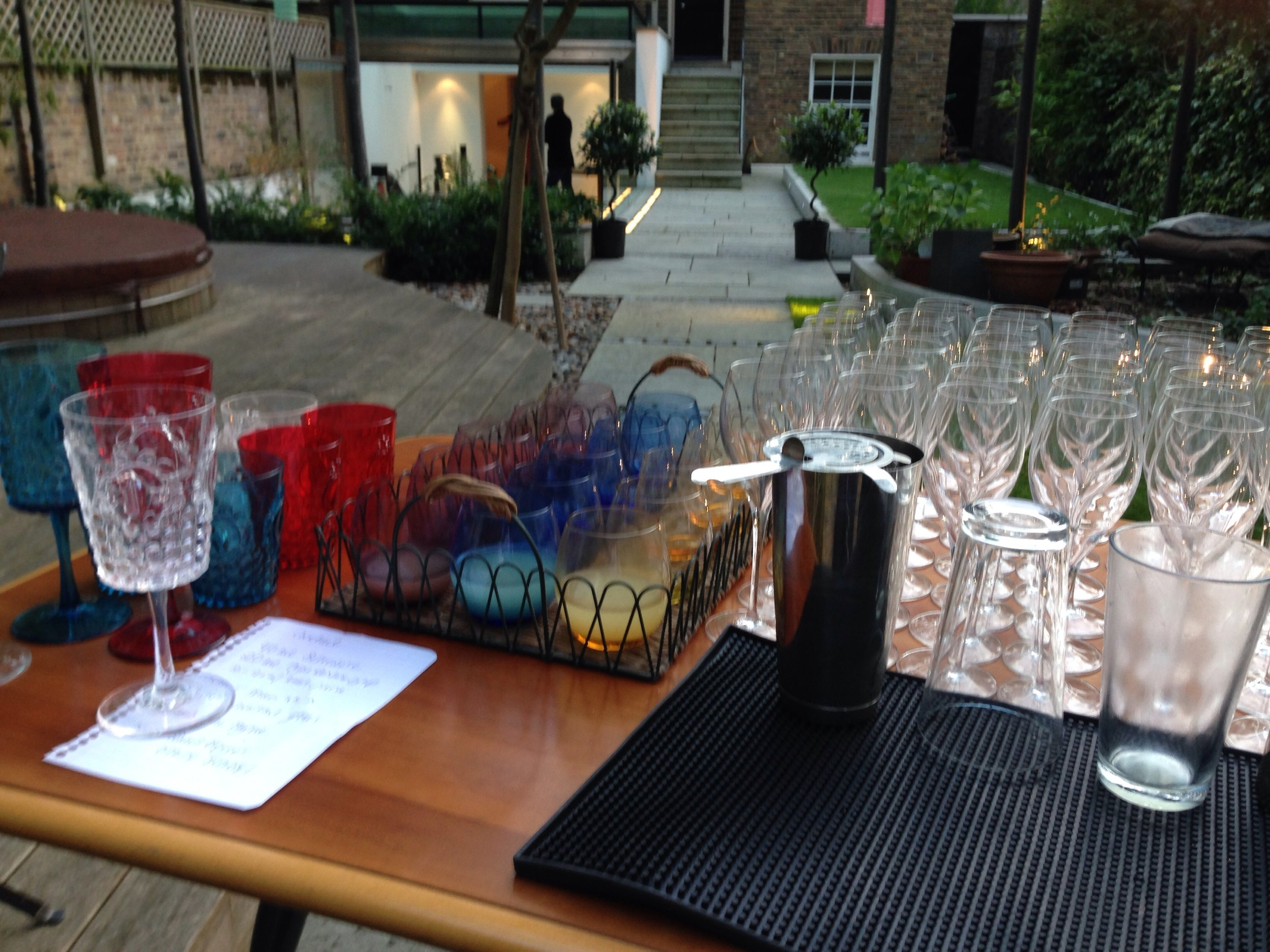 Private garden party and cocktail bar setup