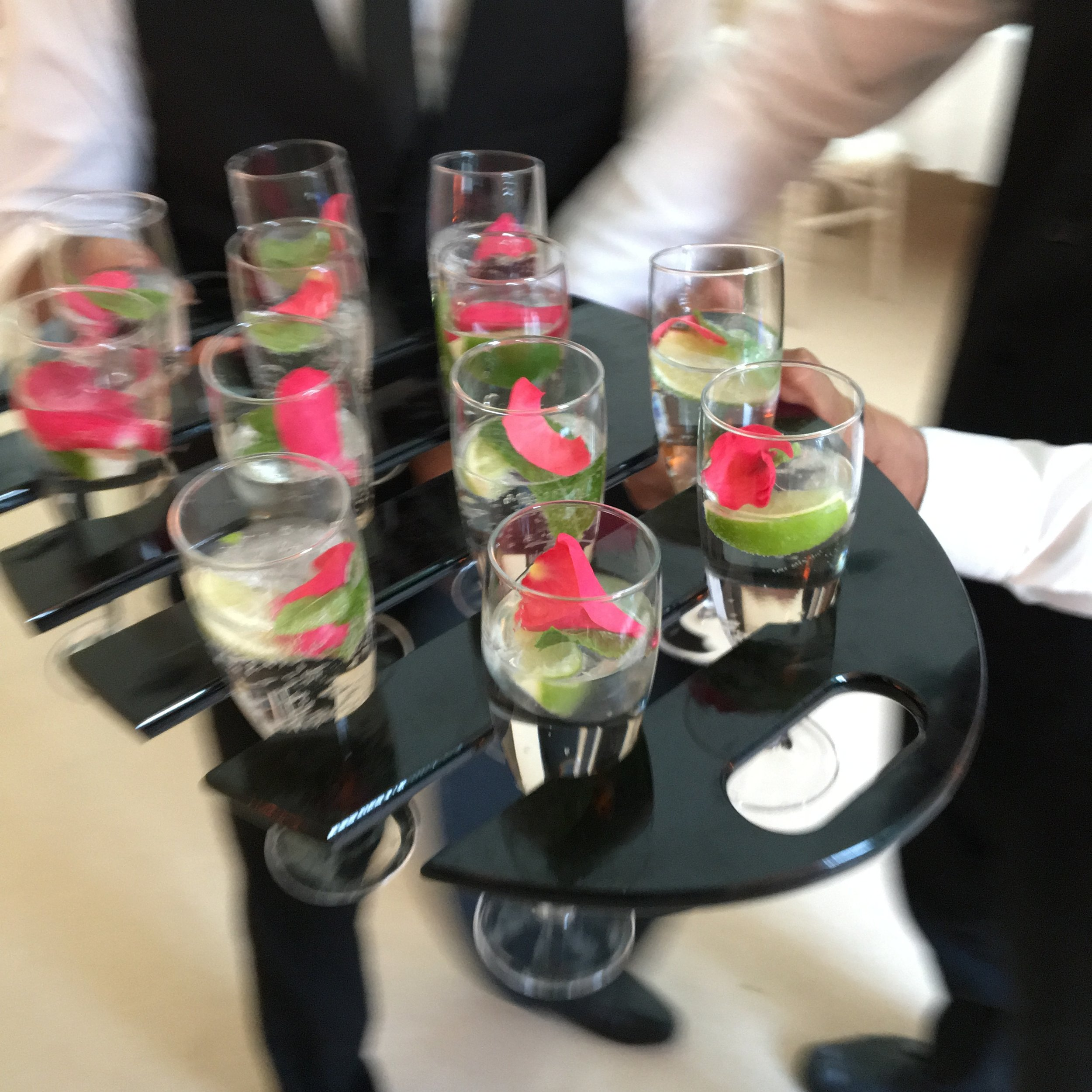 Wedding Service, champagne brought by our waitreses