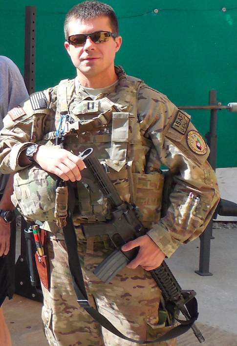 Mayor Pete serving as a Lieutenant in the USN while being deployed in Afghanistan. Photo: Medium
