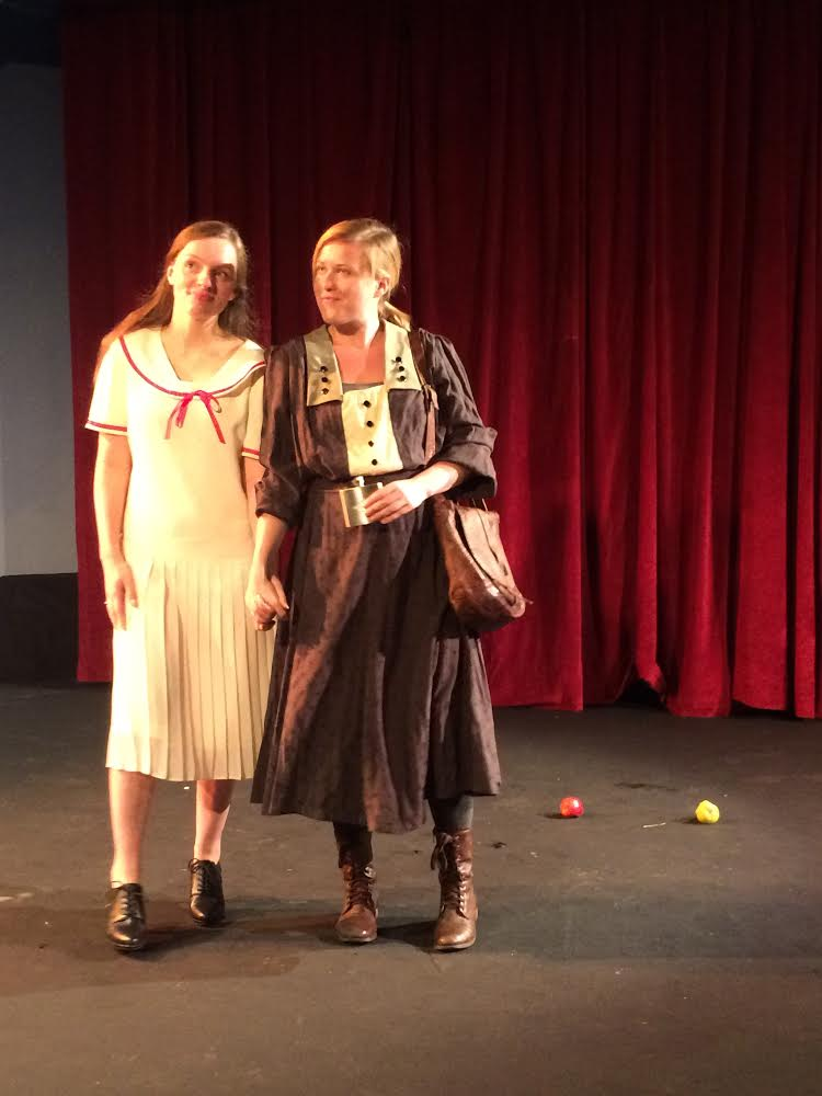 Carolyn Moore (l) as Emmeline and Bethany Arrington (r) as Lizzie contemplate marriage and freedom in the early morning.