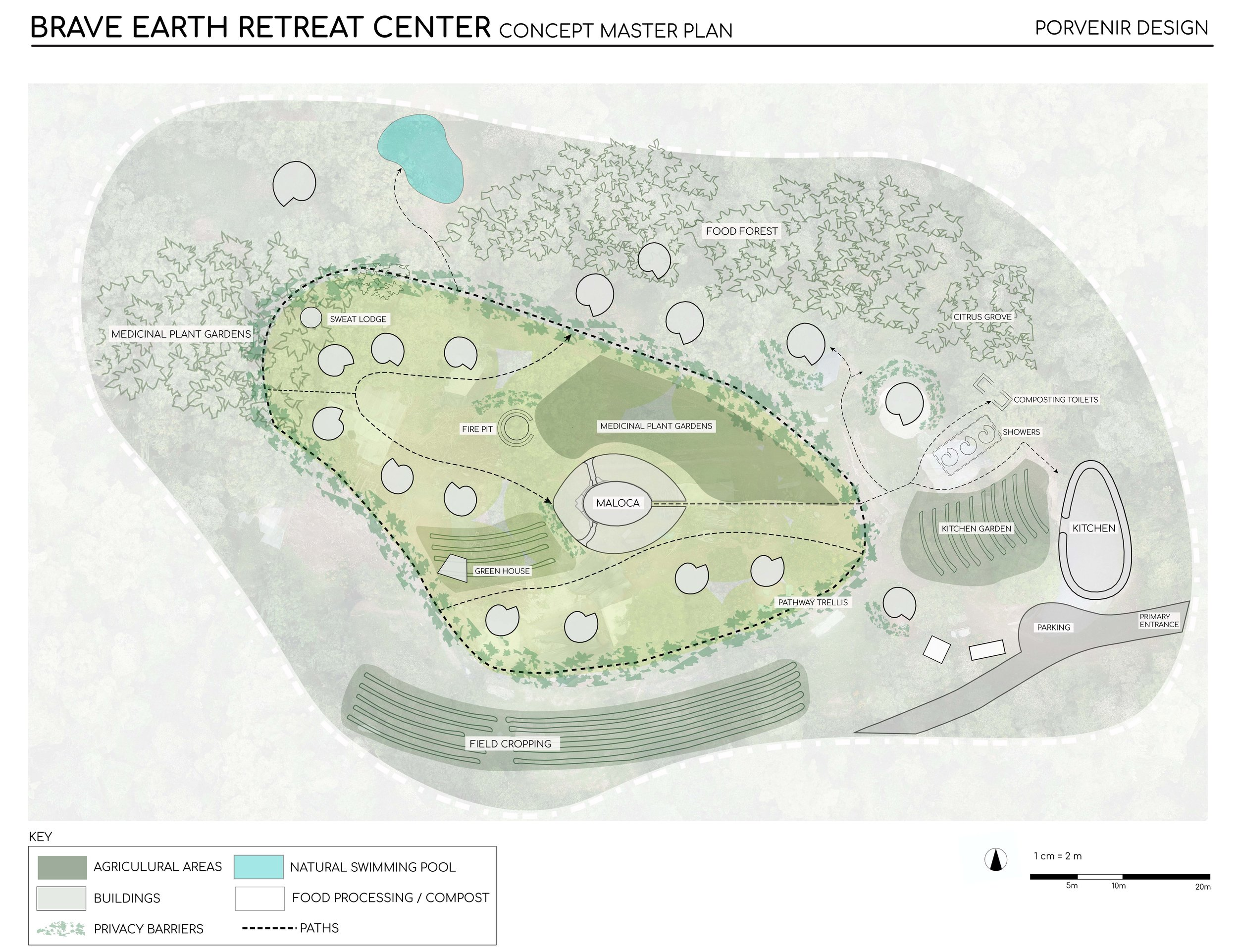 An initial concept rendering of the Brave Earth Retreat Center. Map by  Laura Noel .