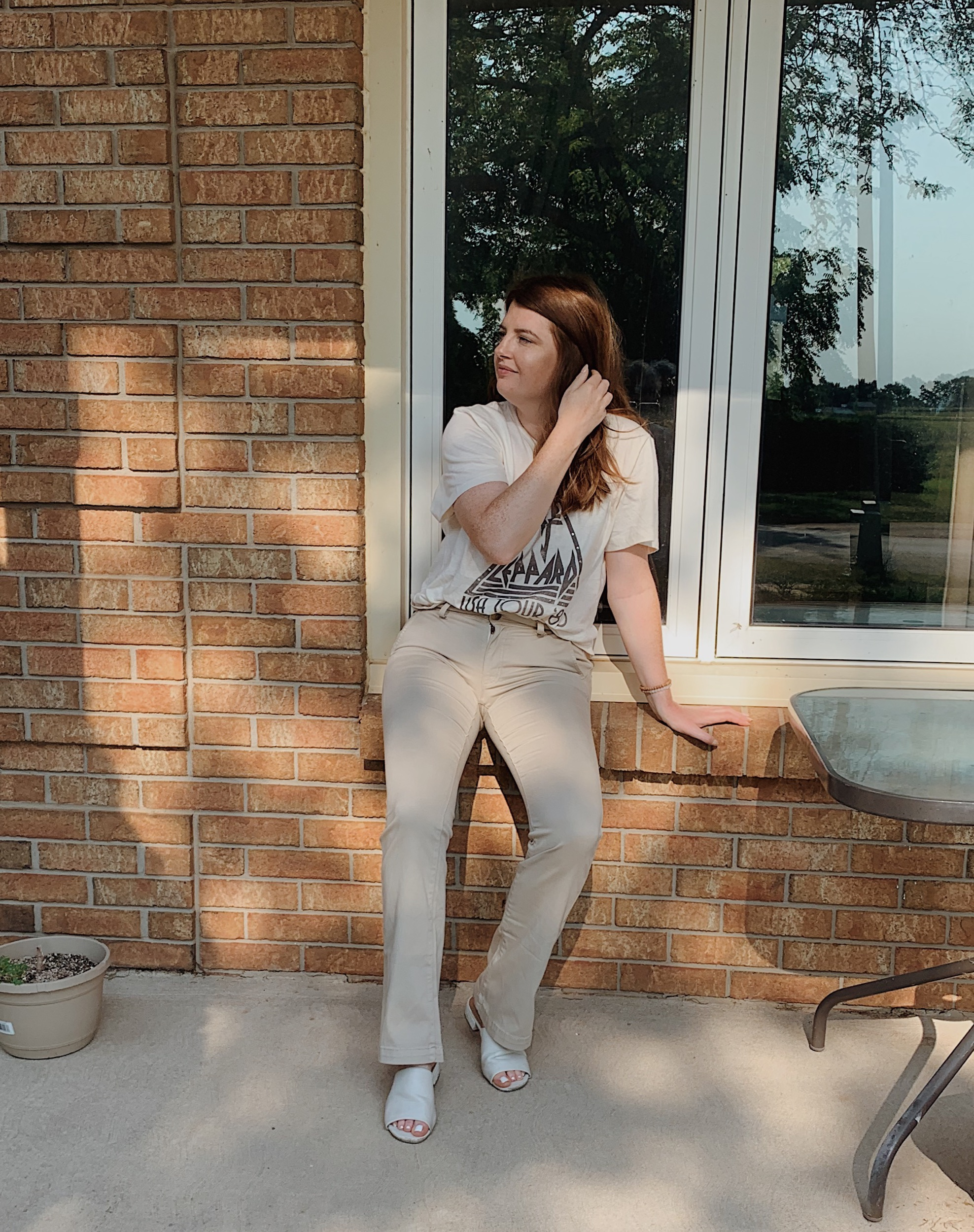 Wearing Graphic Tee and Fared Pants from American Eagle