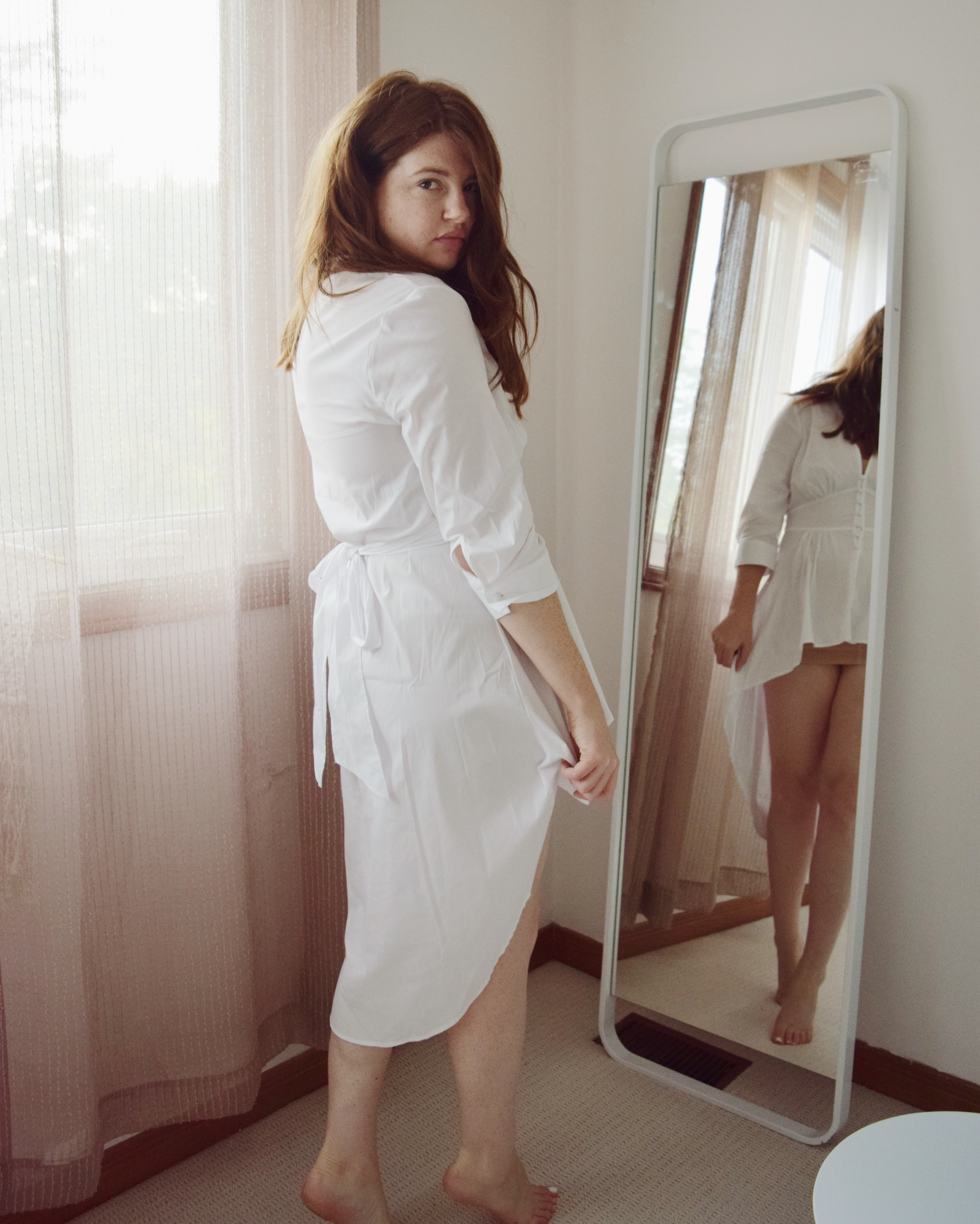 Wearing White Dress from New York and Company