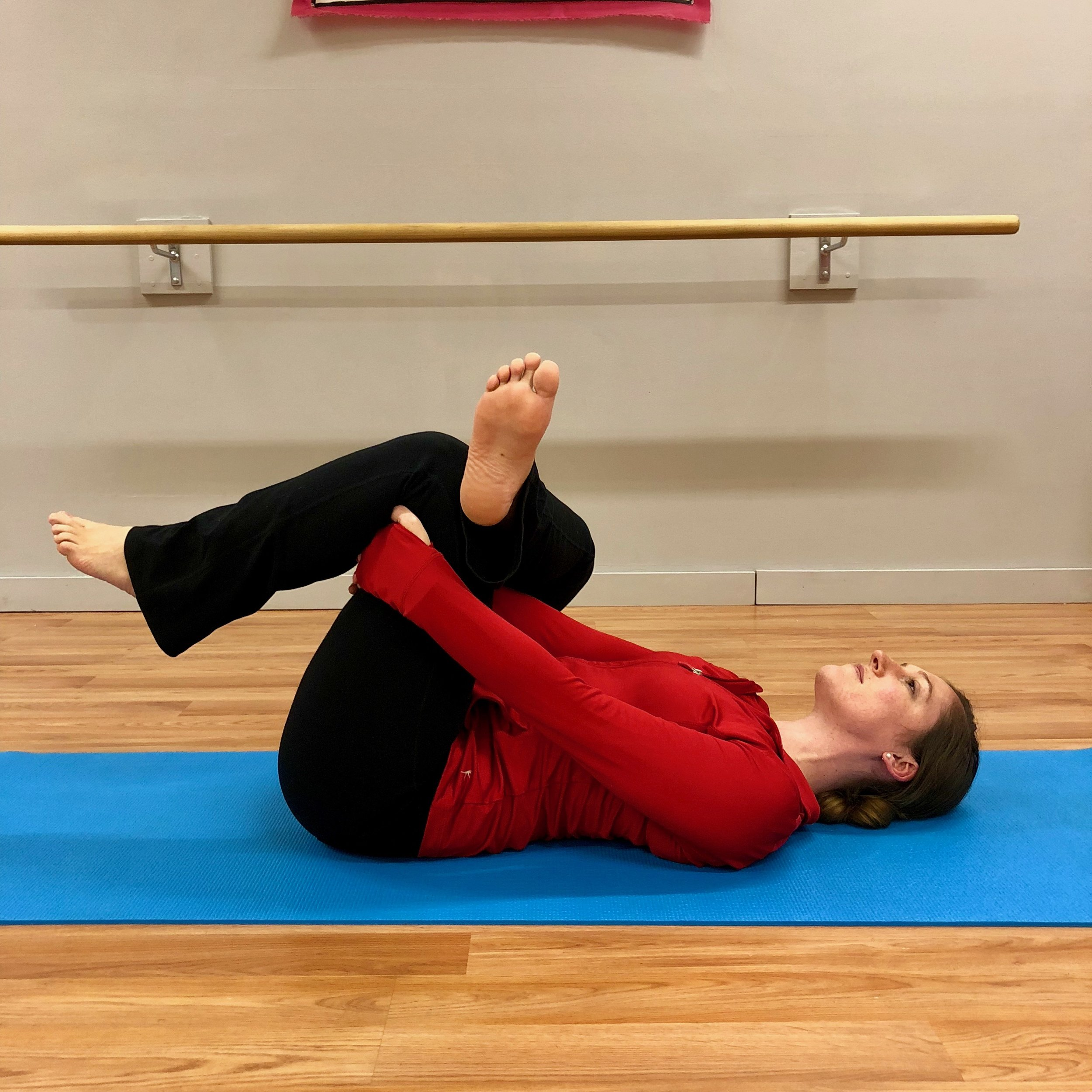"#4 Glut/Piriformis Stretch: Cross one leg over the other in a figure-4 pattern, ""thread the needle"" and grab your other leg and hug it to your chest. Hold 1 minute each side."