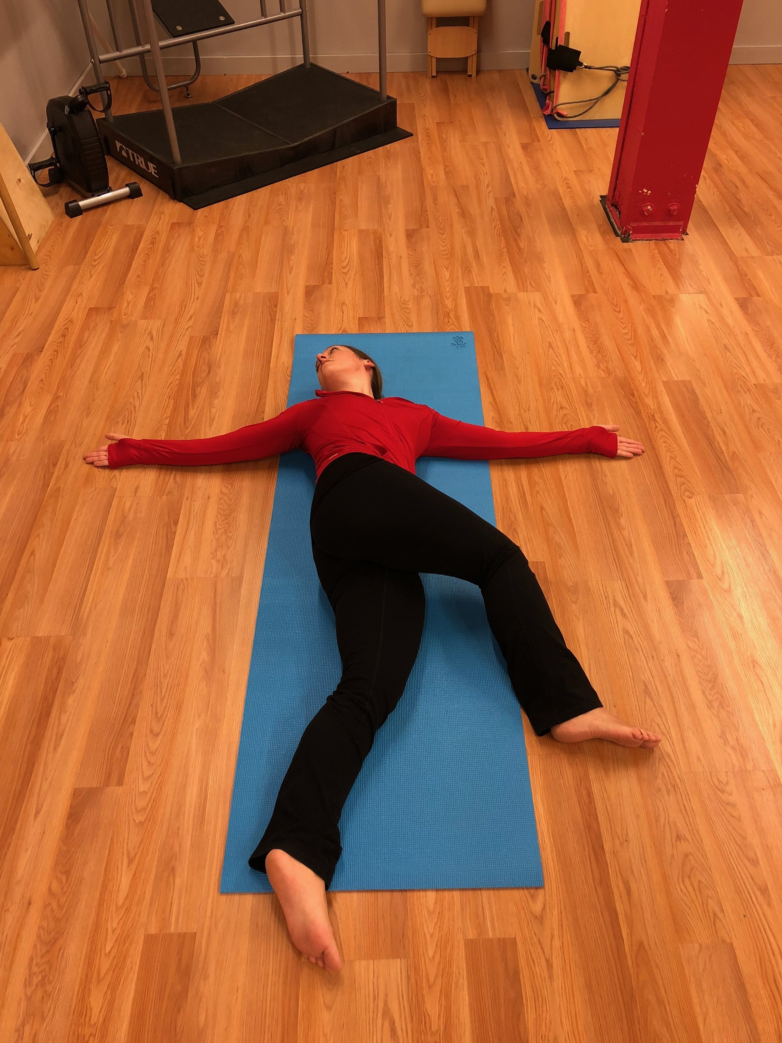 #5 Thoracic Rotations: Start in sidelying with your arms extended in a prayer position. Rotate your top hand toward the opposite side, following it with your gaze. Inhale deeply as you do this and feel the front of your body opening. Repeat 10 times on each side.