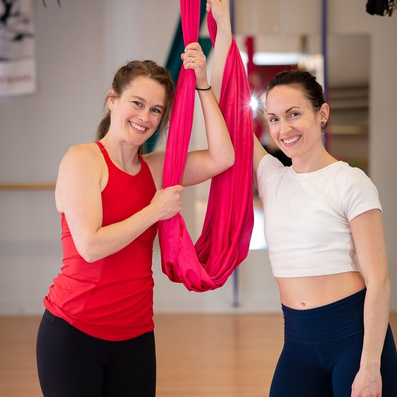 Aerial instructors, Arica Bronz and Laura Savard.