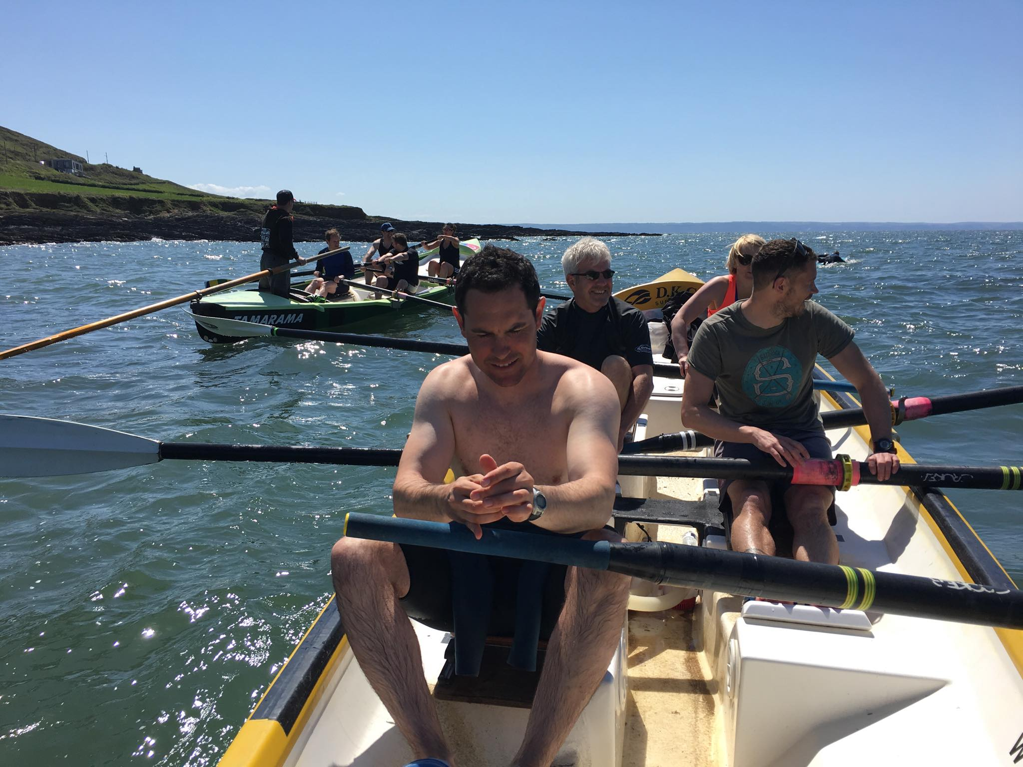 Relaxed row round Down End heading to Saunton...