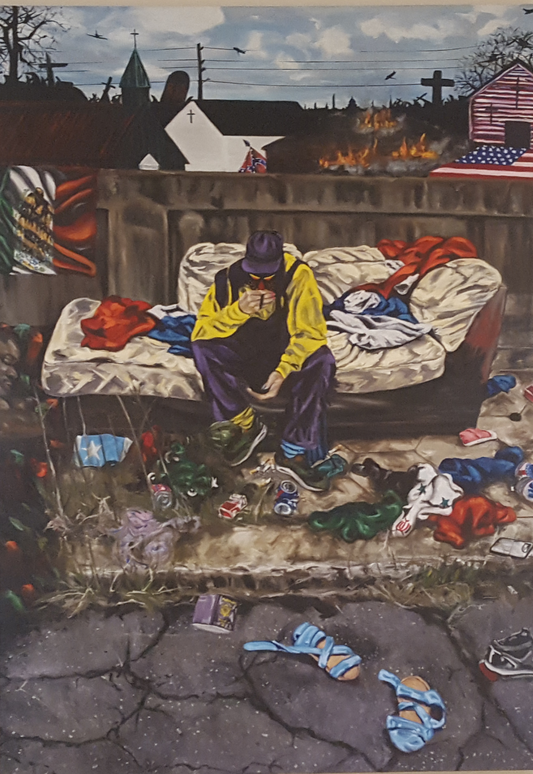 "Homelessness  Oil on canvas 70""x 90"" 2017 Donald Sawyer"