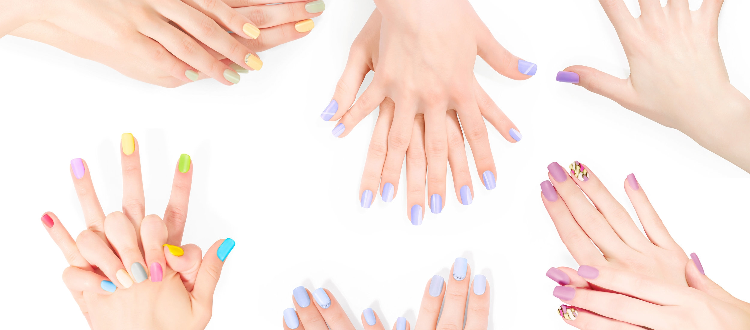 Bundle of hands with shellac art manicure