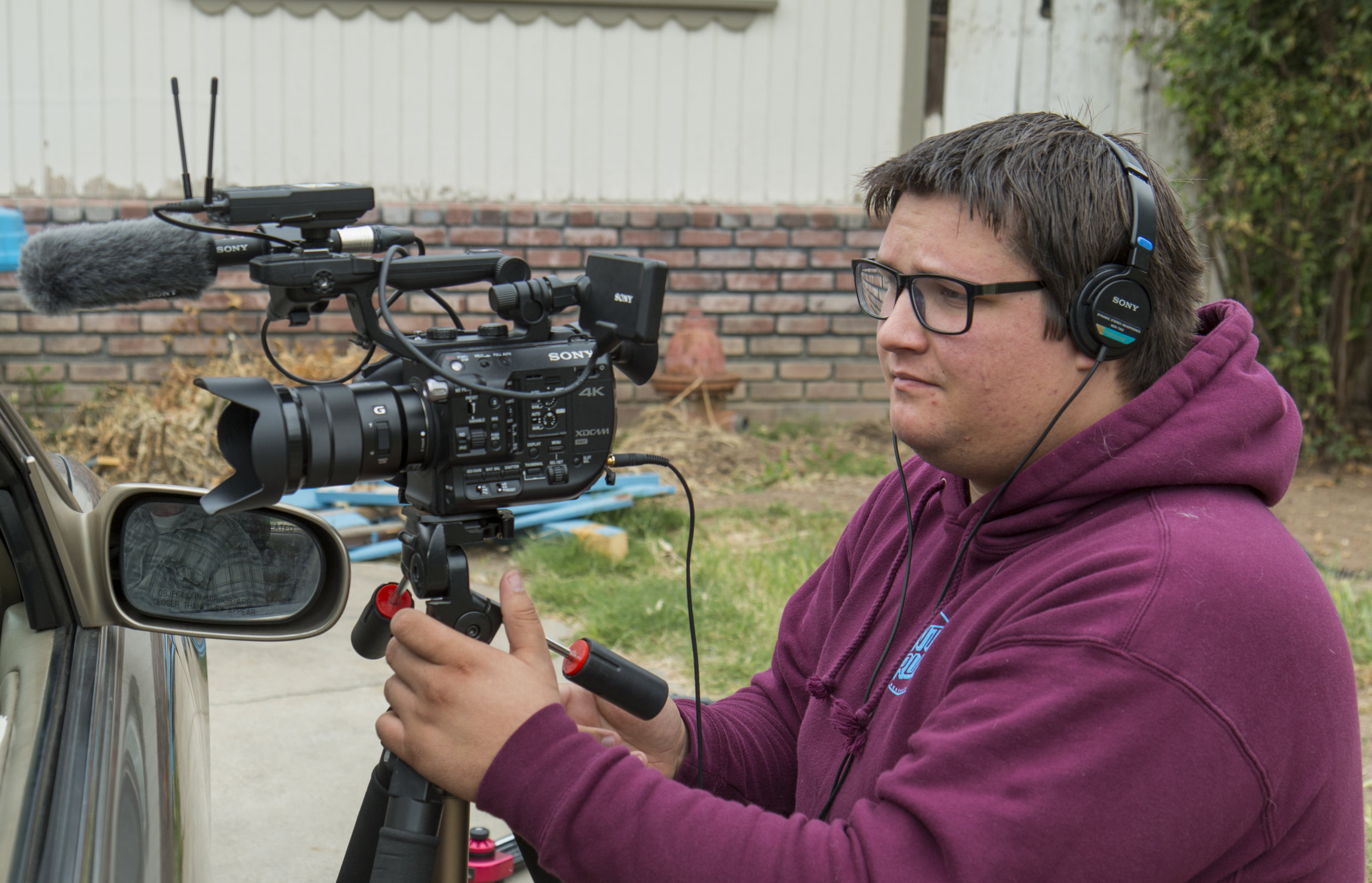 Austin Newell behind the scenes of short film