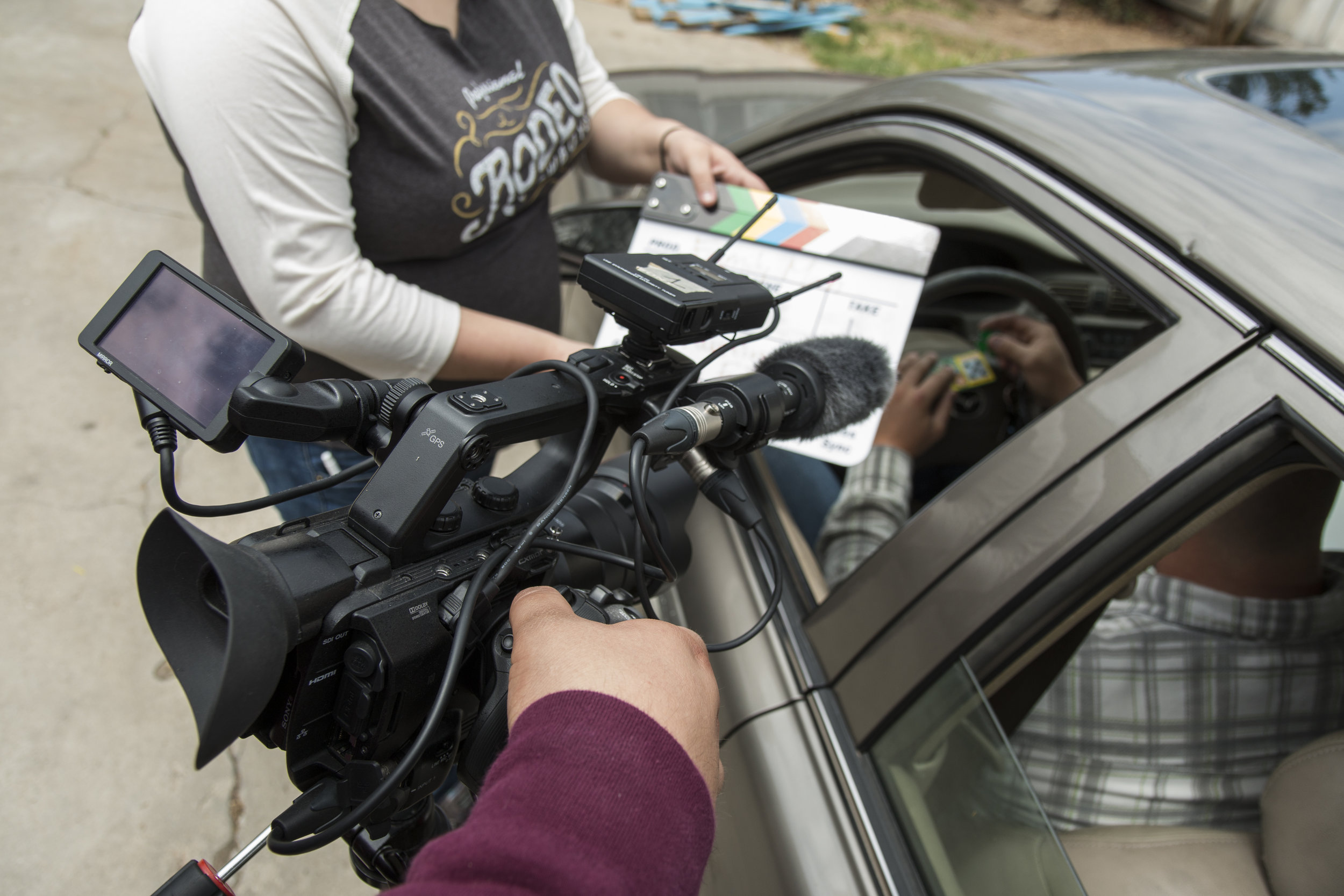 Austin using fs5 with clapboard and car_2.JPG