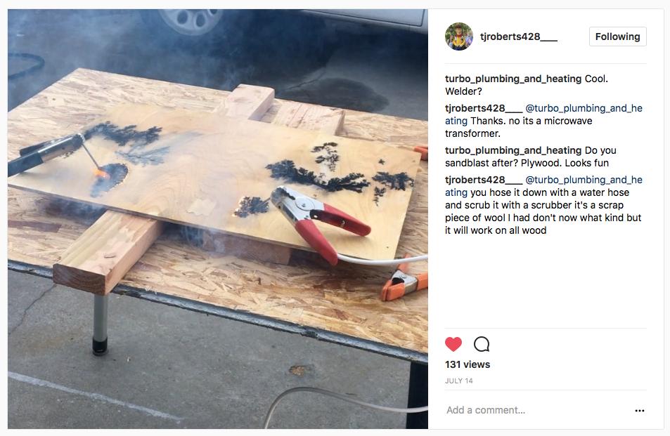 TJ Roberts woodburning instagram