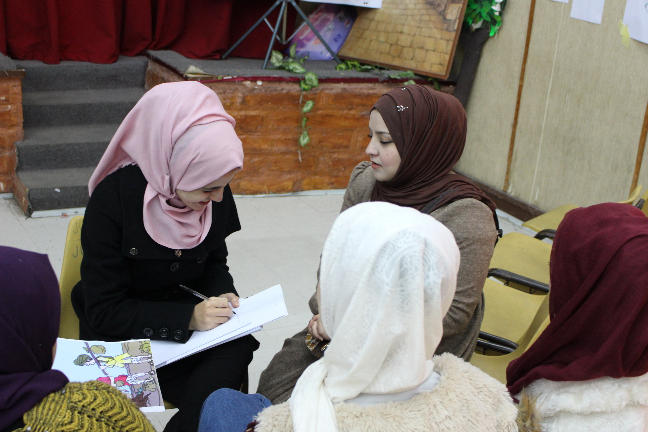 MECI-TSF 24.02.19 Girls talking about the way to deal with difficult feelings in the Life Skills training.JPG