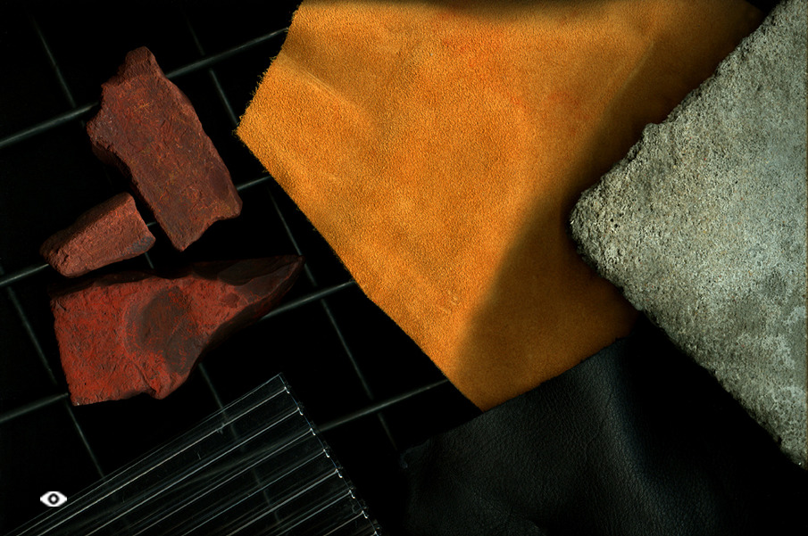 Authentic materials include iron ore, leather and concrete
