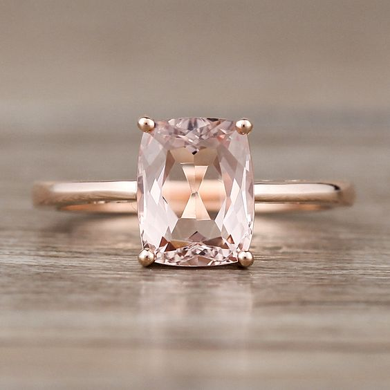 Long Cushion Cut Morganite on 14K Rose Gold