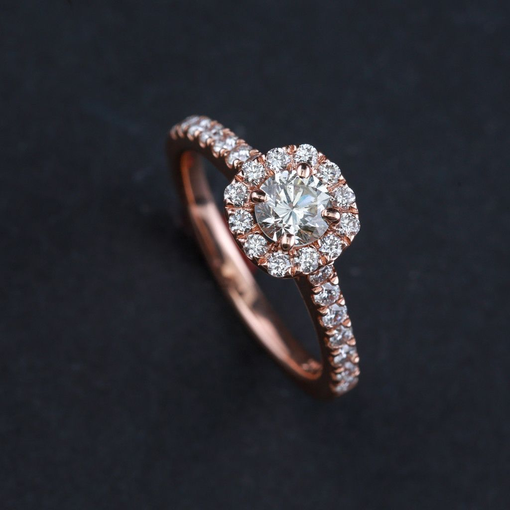 Round Diamond Halo on Rose Gold