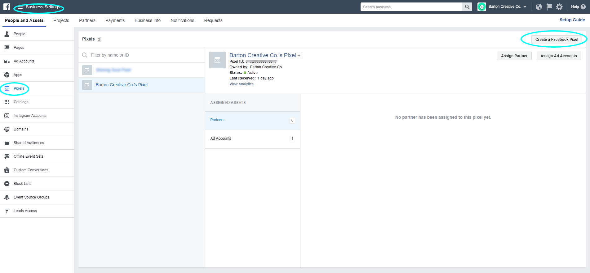 Facebook Business Manager Pixel settings | Facebook Pixel and Advertising 101: A How-To Guide for Small Businesses | Barton Creative Co.
