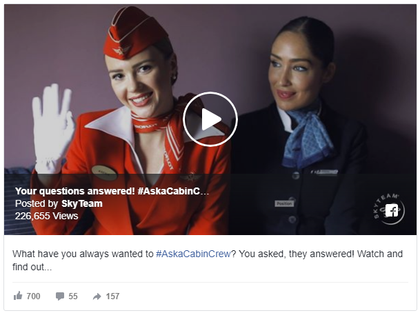 This is a fantastic example of an Awareness Campaign by SkyTeam. They have featured a video Q&A, which not only introduces their brand to an audience, but offers value too.