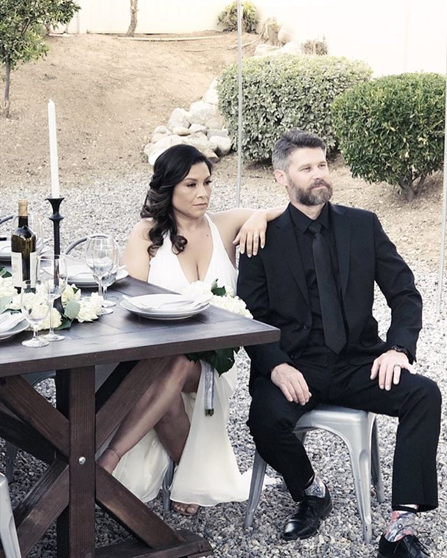 This couple made our tables look just that good🔥 we enjoyed working with you on your beautiful wedding💗Congratulations. @white_0114 . . #farmtables #farmtablerentals #yucaipa #intimatewedding #bride #groom #tablescapes #crossbackchairs #wedding #photography #rustictables #rusticweddingdecor