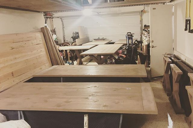 The building process never stops. My Husband is constantly at work to add to our table collection. 🔨⚙️🙌🏻 @calderwoodworks  #farmtables #rentals #build #workwithyourhands #business #wildwoodevents #calderwoodworks #workshop #weddingrentals #menifee #temecula