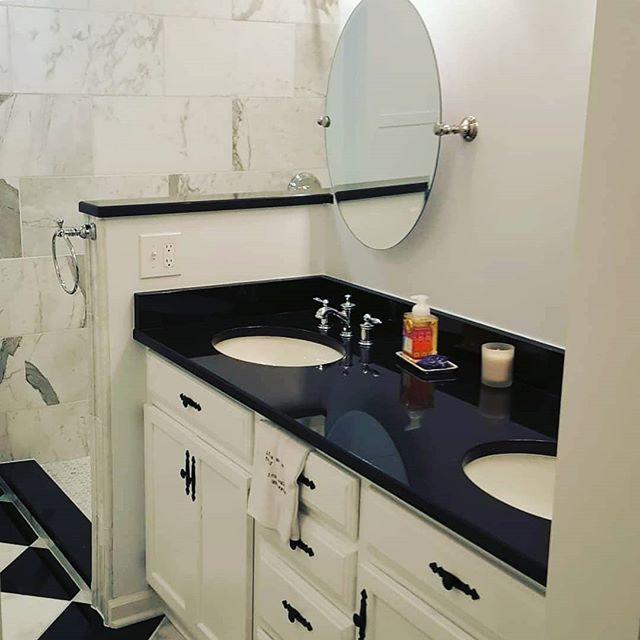 Classic black and white bathroom.