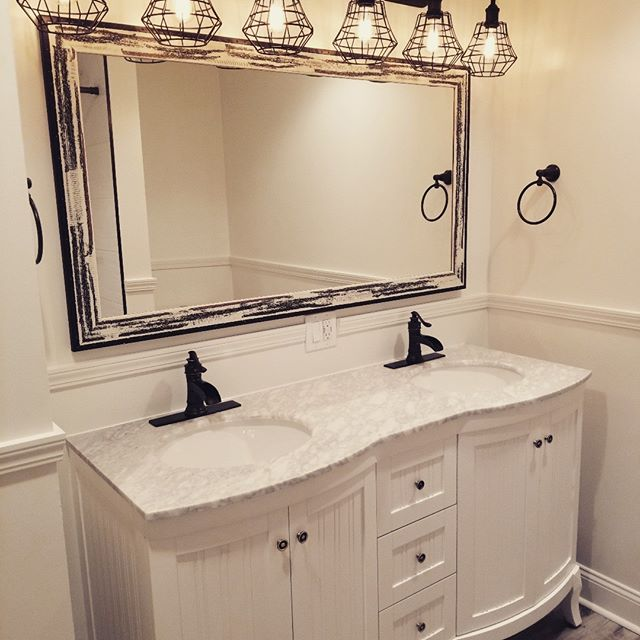 Moving just one small wall makes room for a gorgeous double sink vanity! #tflhearts