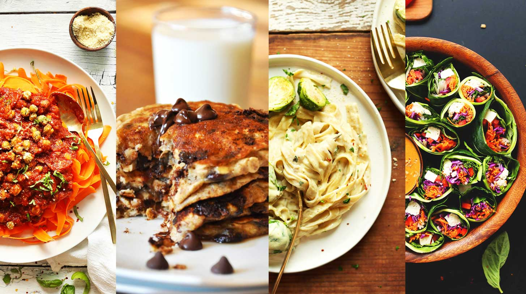 All plant-based vegan recipes, mostly gluten free (all delicious).