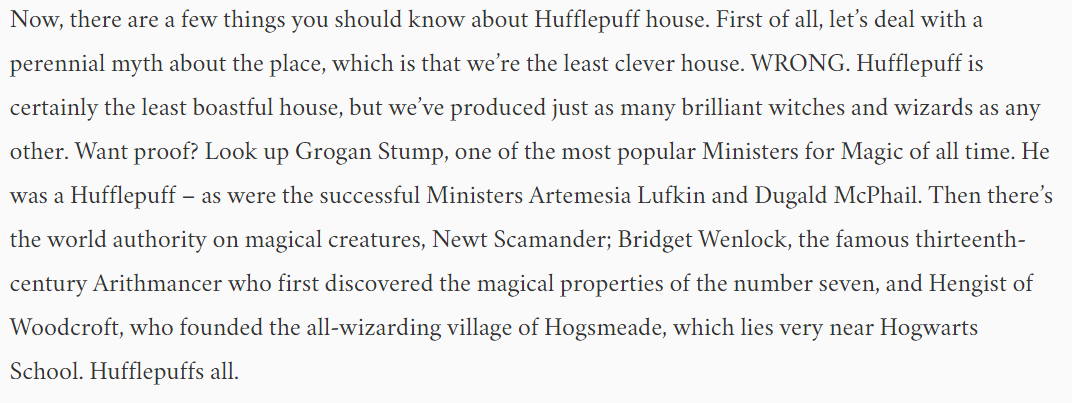 An excerpt of Jk Rowling's welcome message to Hufflepuffs sorted on Pottermore.