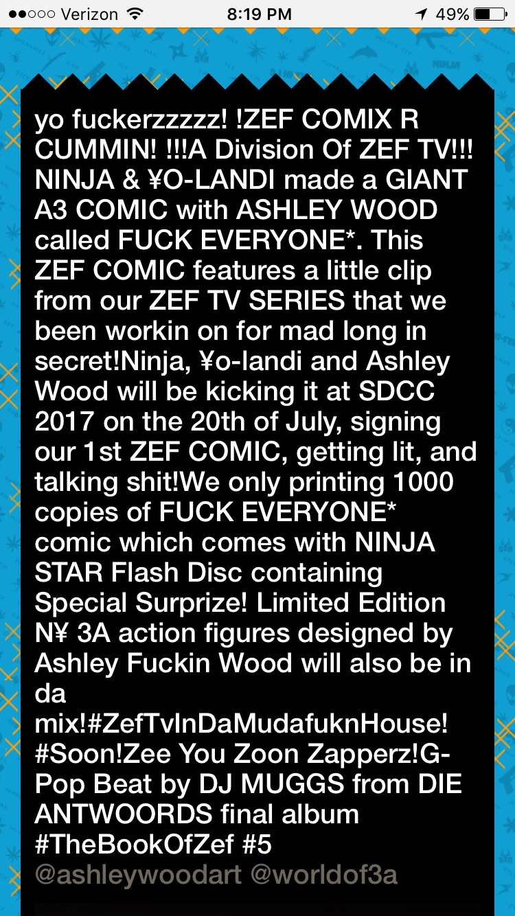 The official announcement from the Die Antwoord Website.