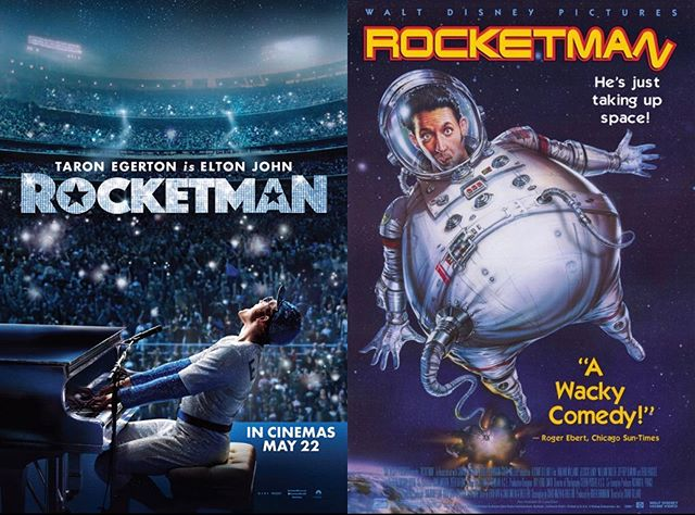 It's time for the debate of the century. Which Rocketman movie is more worthy of the title? . . #rocketman #eltonjohn #movie #90s #movies #debate #space #harlandwilliams #taronegerton