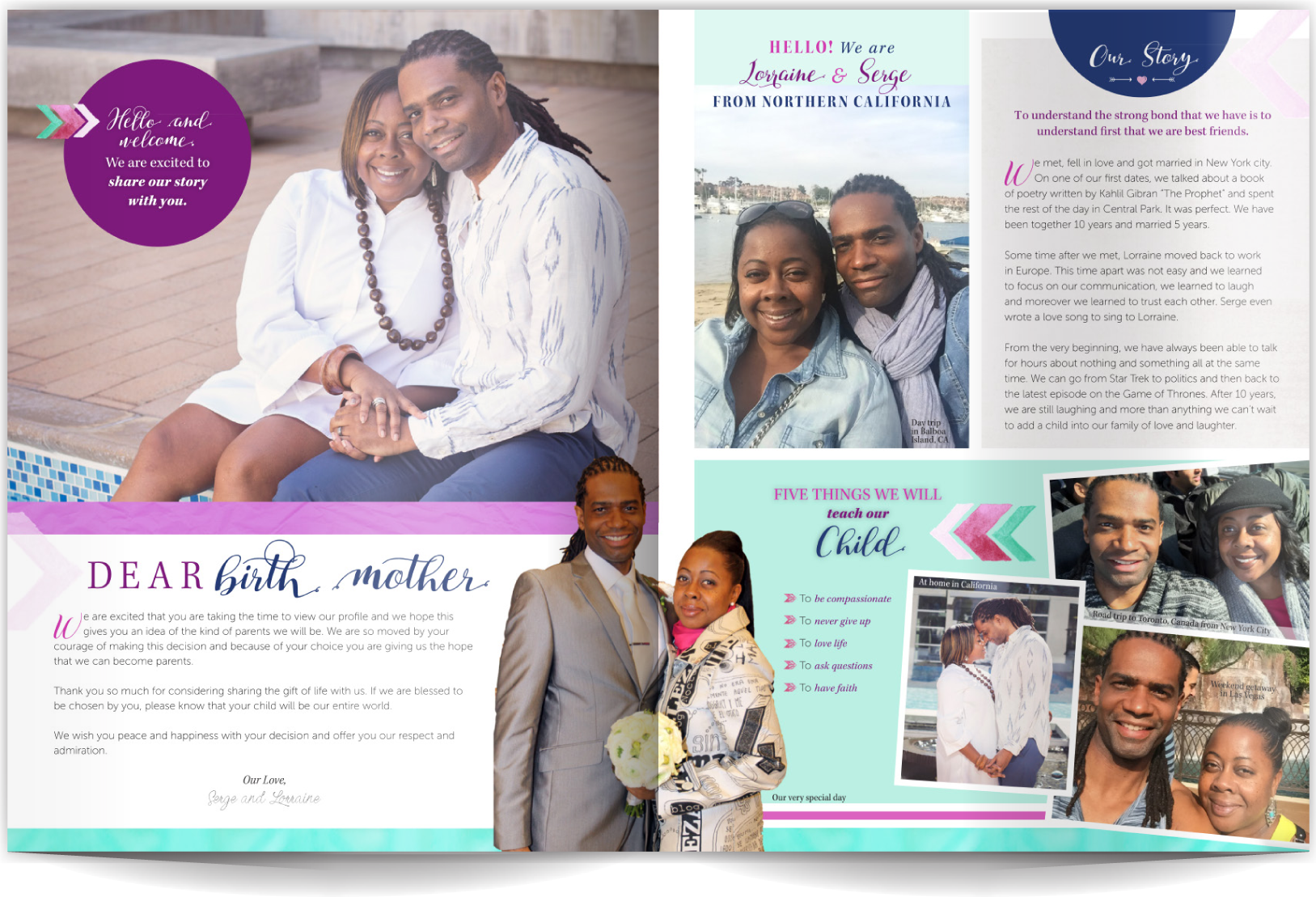 PAGE LAYOUT STYLE 7 - Clean, cool, and collected. Soft seaside colors with a few high-impact colors and graphics make this layout sing. A few great photos can blend with everyday photos in this layout that blends copy, short lists, and a calligraphic font!