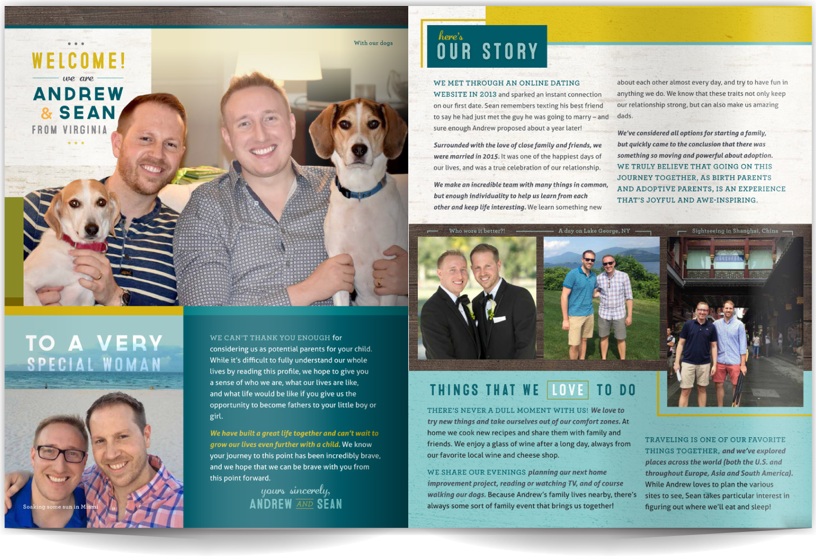 PAGE LAYOUT STYLE 9 - Polish and POP! Linear does not equal boring, and organized does not equal dull. In fact, the tightly ordered layout enhances the photos and makes the copy easy to read. Rich colors and great photos make this layout both engaging and playful.