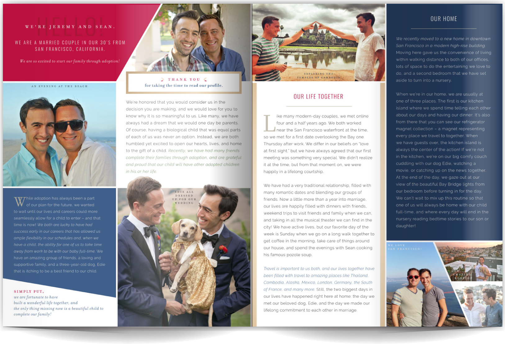 PAGE LAYOUT STYLE 11 - This high-impact layout makes looking great seem effortless (but don't let it fool you- it was planned to a T!) A few great photos and sophisticated typography blend with bold colors and white for a clean, but compelling layout!