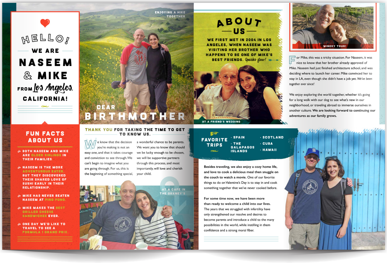 PAGE LAYOUT STYLE 12 - Casual, warm and playful describes both this couple and their profile! Bold colors, a retro flair, and photos show their great smiles and personality. Fun graphic elements take second chair to the photos and colors, but add warmth and a playful feel to the layout.