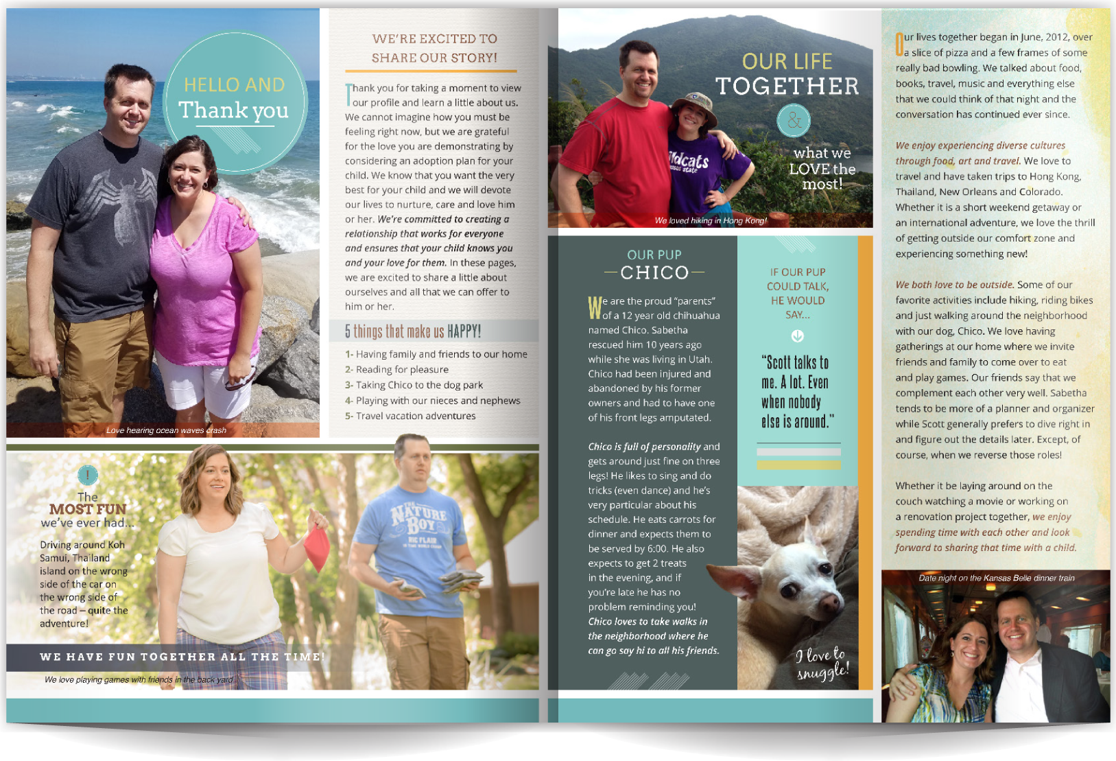 PAGE LAYOUT STYLE 14 - Outdoorsy, active, and stable- that's what our clients wanted to share with expectant parents. We believe design is fundamental to telling your story, and in this layout the clean, easy-to-ready typography blends beautifully with warm and neutral colors and a linear layout to do just that.