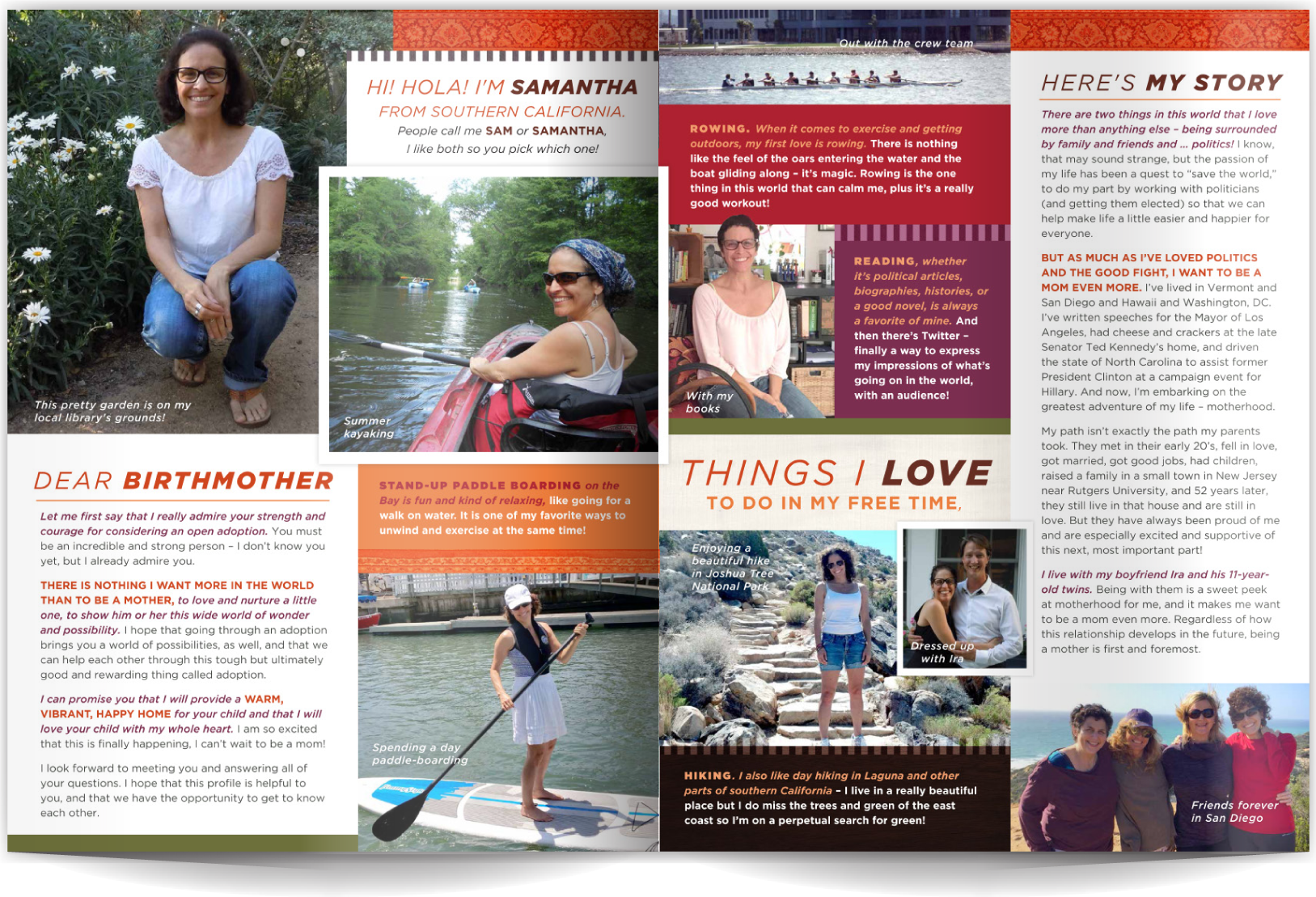 PAGE LAYOUT STYLE 16 - Patterns, rich colors and a varied-yet-linear layout work together to create a profile that's easy-to-read, fun and shares lots of photos and text in an organized and engaging way. The darker colors make great backgrounds for inverse type. Pattern and bold colors are a great way to add dimension to a more modern layout with simple typography.