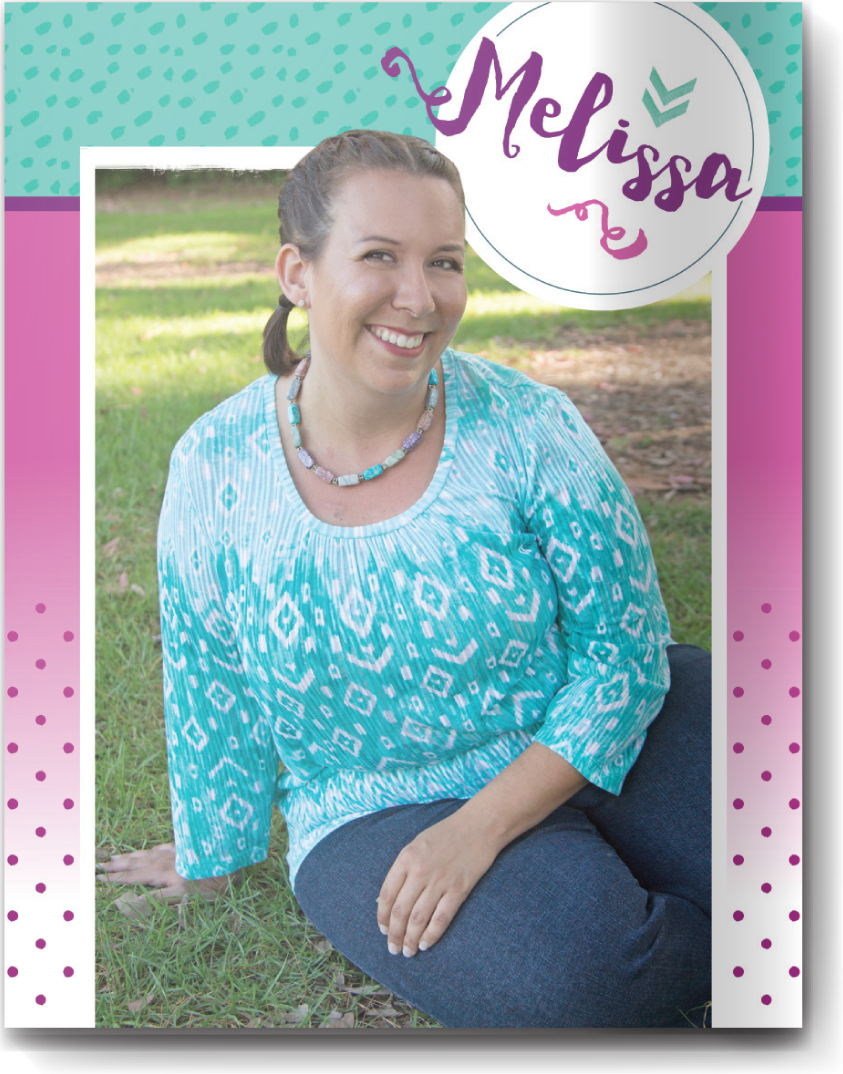 Cover page style 6 - A smile this bright benefits from playful pattern, bright colors and fun typography. Together they showcase her fun and outgoing personality!