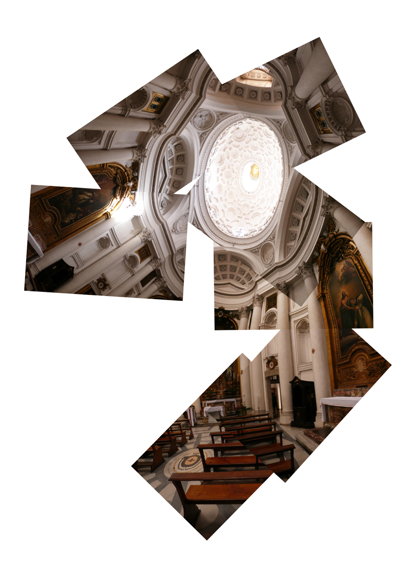 Super Series - Di Sotto En Su - pattern - early collage of Borromini's San Carlo Allie Quattro Fontane, Rome.