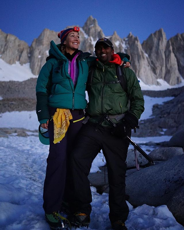 At the foot of #mtwhitney about to take on the Ice Chute with @breezin_along