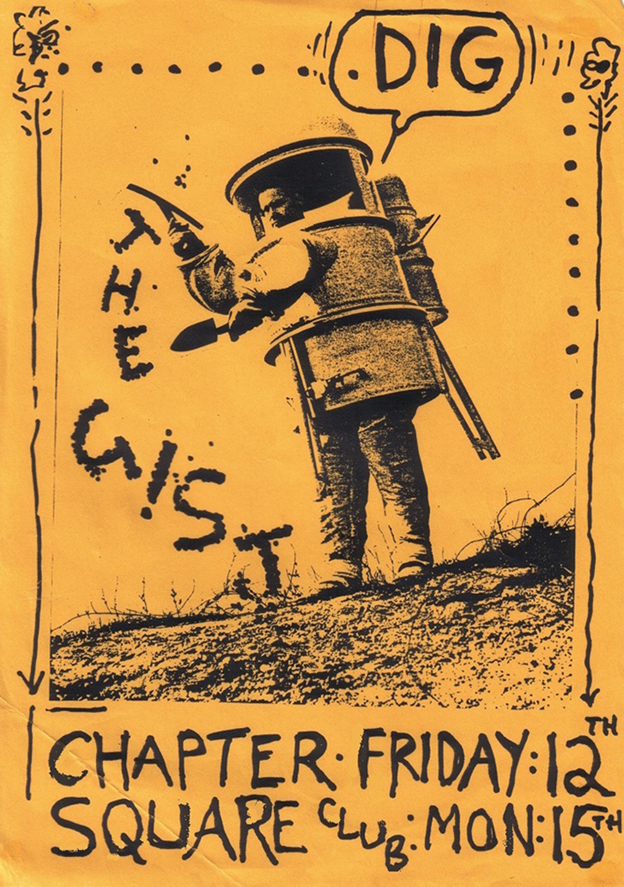 THE G!ST gig poster for Chapter Arts Centre and the Square Club (1984) - Image courtesy of Stuart Moxham for Homesick Magazine Issue #1   www.stuartmoxham.co.uk