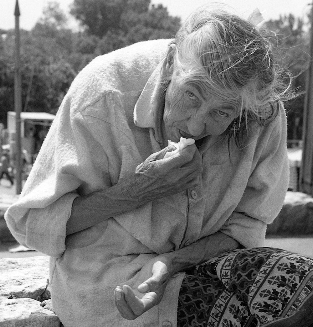 old woman, warsaw, poland