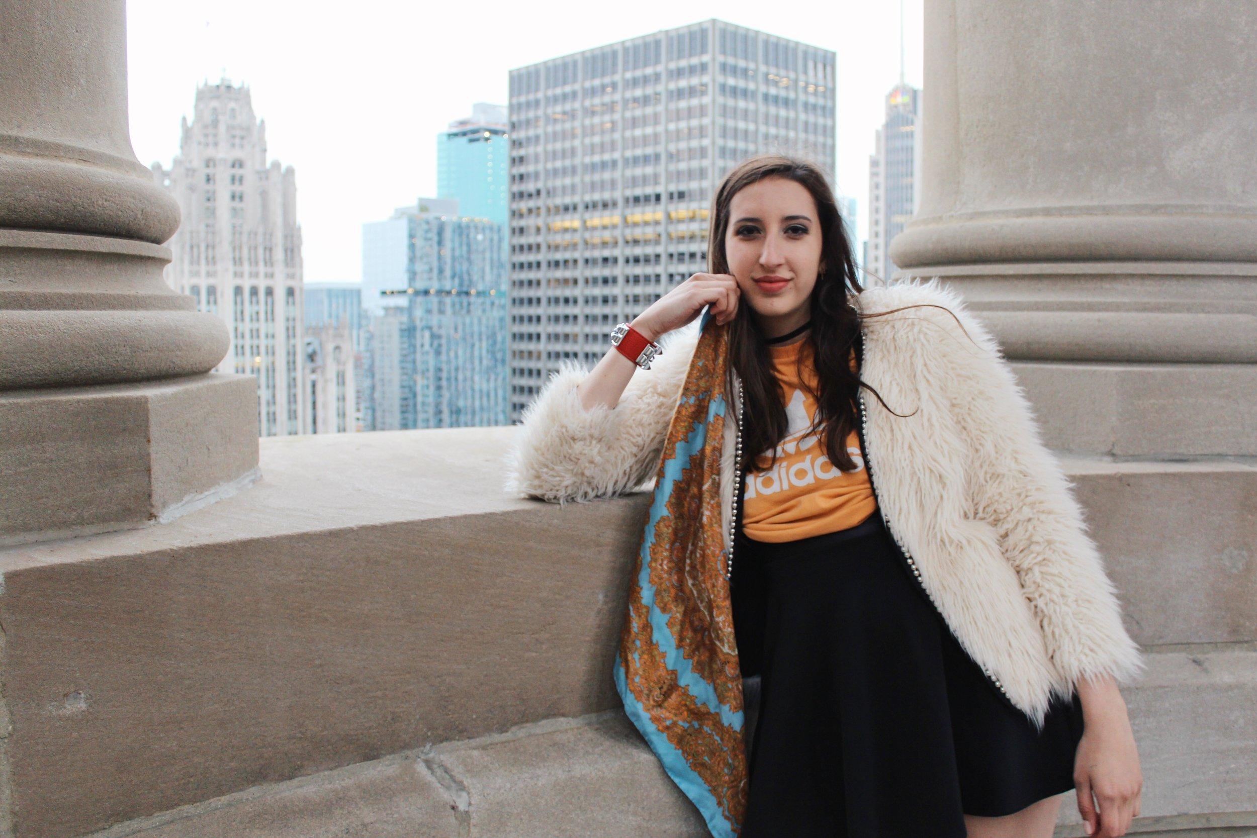 Amanda wears vintage scarf,  Versace .