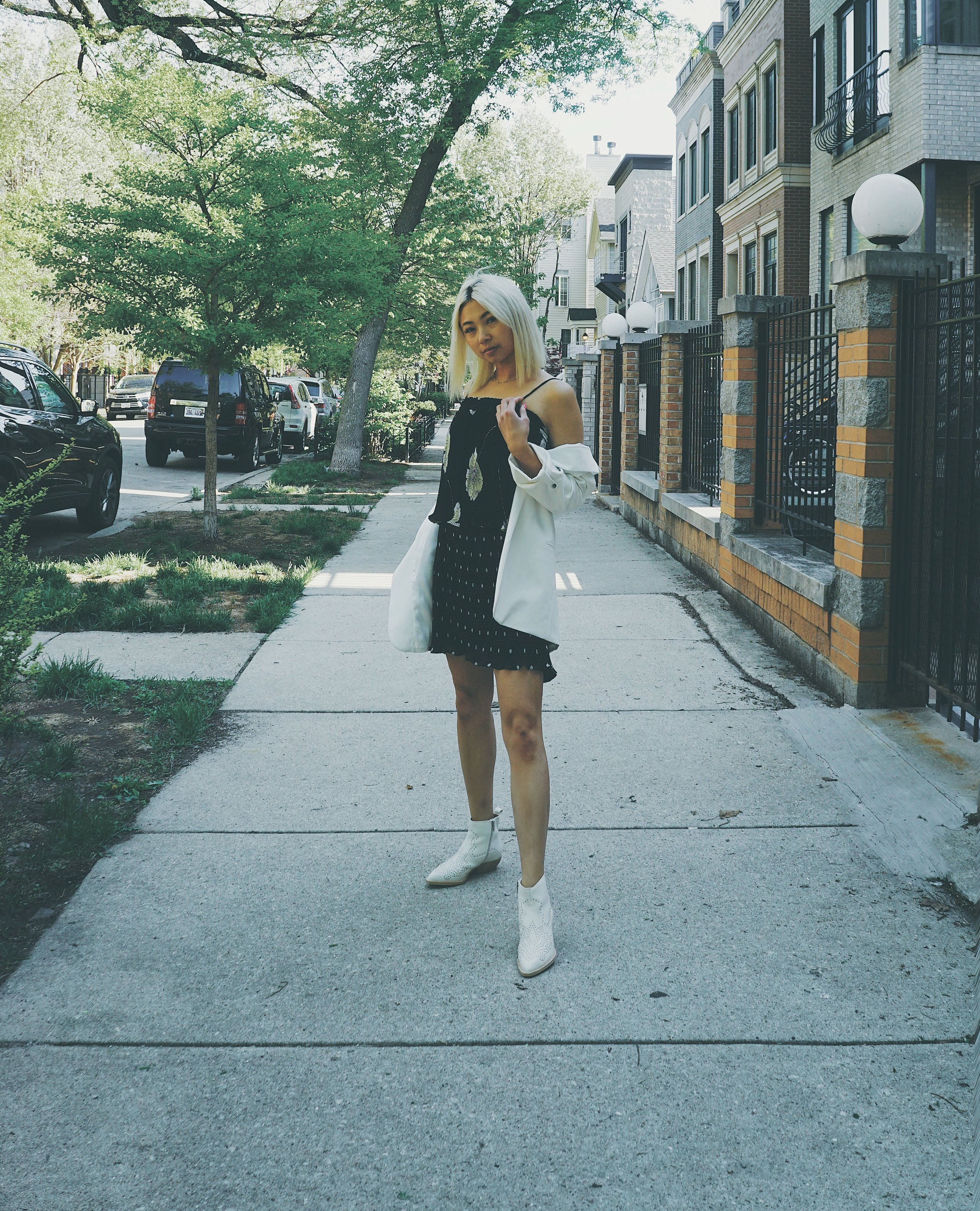Ginger wears Soft Double Breasted Blazer,  Topshop ; Pattern Block Popover Dress,  1.STATE ; Uma Boots,  Dolce Vita .
