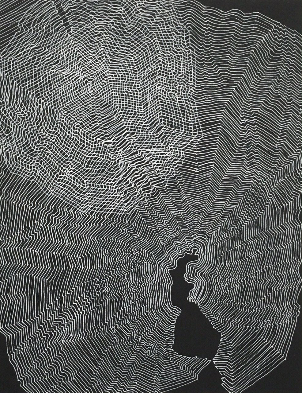 Nightlines 1     12 x 9 inches   Ink on black cardboard   2015